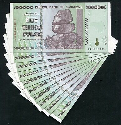 10 Consecutive 2008 50 Trillion Dollars Zimbabwe, Aa P90 Unc 100 Trillion Series