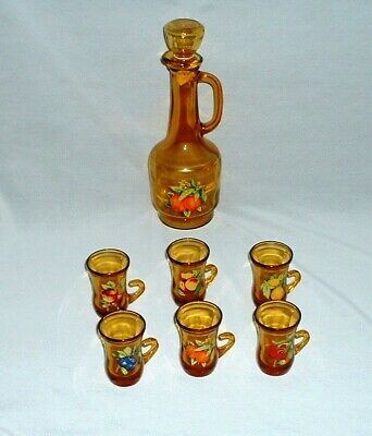 Vintage Amber Glass Juice Carafe Decanter With (6) Glasses Excellent