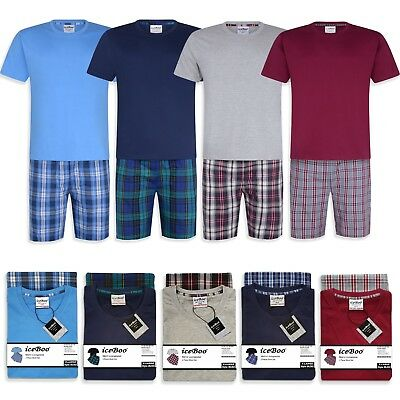 e20c3f45ca Mens 2 Piece Pyjamas Shorts Set Night Suit Short sleeve Cotton mix  Loungewear
