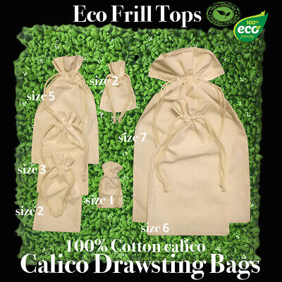 Eco Drawstring Bags Eco Tote Calico Bags With Top Frill 100% Cotton 1-200 Lots