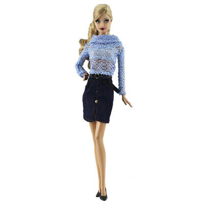 2pcs/Set Doll Suit Blue Top and Denim Skirt Fashion Clothes for 1/6 Dolls
