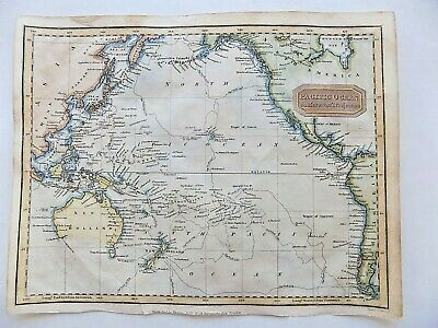 1830? Pacific Ocean Antique Map Kelly Findlay New Holland Australia Cook SCARCE