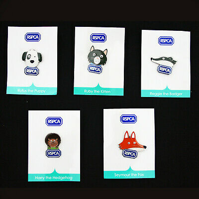 New Rspca Kitten Puppy Fox Hedgehog Badger Pin Badges Supporting Rehoming Centre