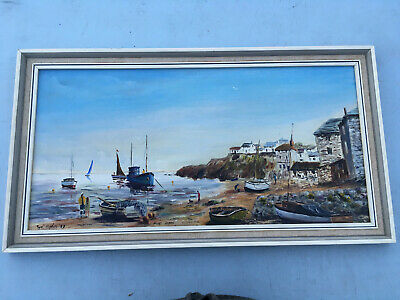 Framed signed Oil painting on board Port Isaac Cornwall Lot E230219H
