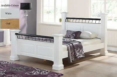 Hunter Solid Wooden 4 Poster Bed Frame Oak Or White Finish Double King Superking