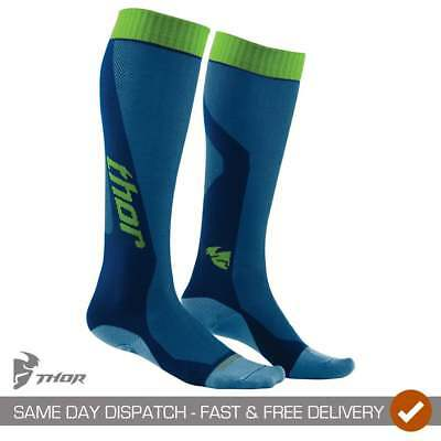 Thor Adulto Motocross Mx Moto Equitación Cool Transpirable Socks - Azul/Verde