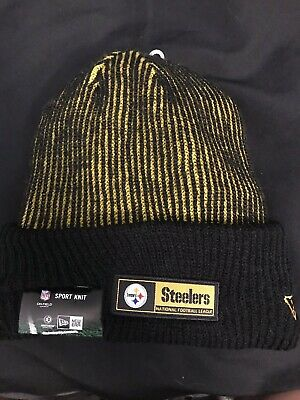new styles 15cd4 60a8a NFL Pittsburgh Steelers Men s New Era Black Sideline Official Tech Knit Hat