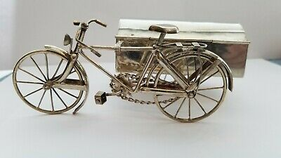 Vintage Sterling Silver Figural Bicycle With Box Side Car 131.8 grams