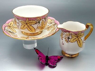 Royal Standard Tea Coffee Cup Saucer & Creamer English Bone China Gold Pinks set