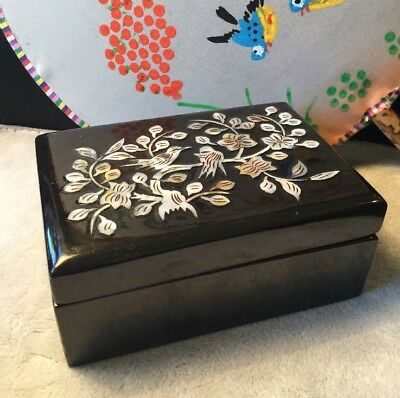 Retro Black Lacquer Shell inlaid Birds Flowers Lovely Trinket Jewellery Box