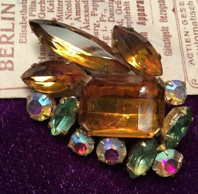 Fabulous Antique Art Deco Rolled Gold faceted amber AB green Rhinestone Brooch