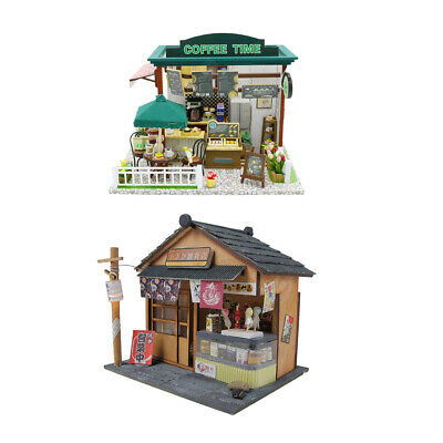 2 Set DIY Dolls House Kit Wooden Miniature Project with Furniture LED Lights