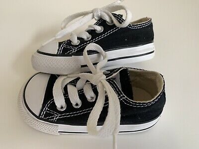 2b46c01b1d58 Infant Baby Toddler Boy Girl Converse All Star Chuck Taylor Black Shoes  Size 4