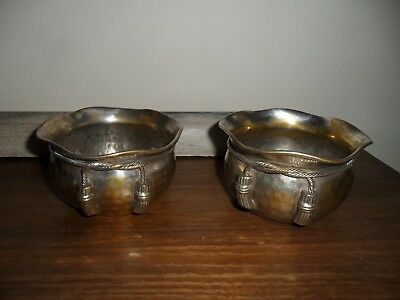 2 Antique Arts & Crafts Silver Plated Hammered Bowls.