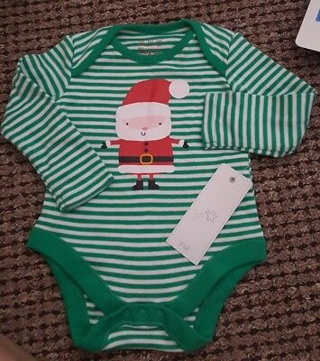 F&F CHRISTMAS SANTA BODYSUIT Size 3-6  MTHS BNWT Next day post!