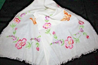 VTG Hand Embroidered Runner, Flowers Butterflies Pink Orange UNFINISHED 37x12