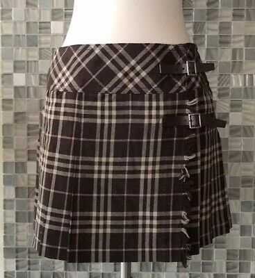 ad2122e4fc *US SELLER* Burberry Blue Label Japan wrapped wrap plaid Mini skirt pleated  S