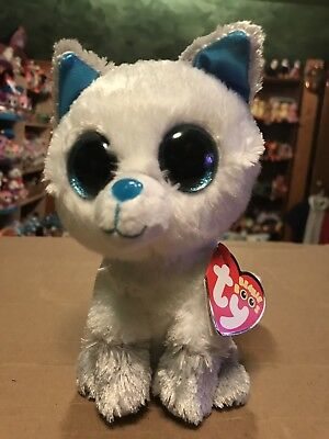"Ty FROST -White Blue Grey Arctic Fox 6"" Beanie Boo  International f7222473e572"
