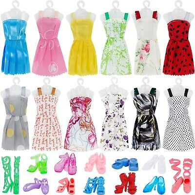 Random 24 Pcs = 12 Outfits + 12 Shoes Summer Mini  Dress Clothes For 12 IN. Doll
