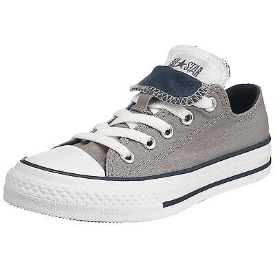 db6b5479c42f KIDS Boys Girls CONVERSE All Star GREY DOUBLE TONGUE OX Trainers Shoes SIZE  UK 1