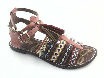 9acb33847 SAM EDELMAN Gladiator Sandals Linny Brown Yellow Red Painted Boho Strappy  New