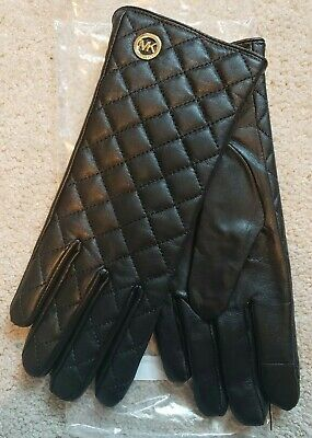 Nwt Michael Kors Women's Quilted Black Leather Gloves $98 Size: M