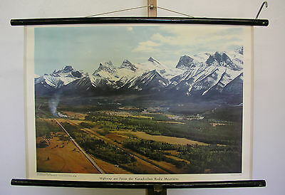 Pretty Wall Picture Highway Am Fusse of Canadian Rocky Mountains 75x51 Vintage