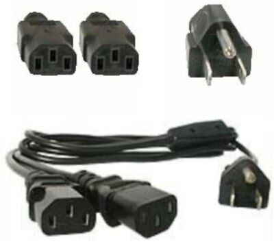 Lot5 6ft AC Power Splitter/Y/DUAL IEC320 C13 PC/Printer/PDU/PSU Cord/Cable/Wire