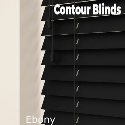 WOOD WOODEN VENETIAN REAL WOOD BLINDS - 35 & 50mm SLAT SIZES - CHILD SAFE BLIND