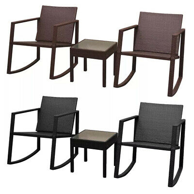 Incredible 3Pcs Outdoor Rocking Chair Table Set Poly Rattan Armchair Pdpeps Interior Chair Design Pdpepsorg
