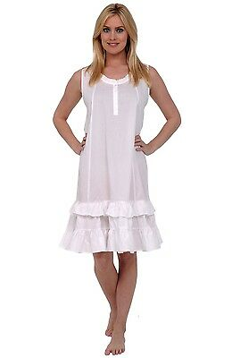 NWT Alexander Del Rossa Women s 100% Cotton Victorian Sleeveless Nightgown  LG 6c81db289