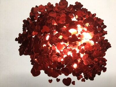 Sequins - Flat - Red Hearts - 2 Sizes Small & Large - 20g - 700+Pieces - New
