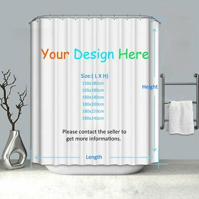 Customized Extra Long Waterproof Mildewproof Polyester Shower Curtain +12 Hooks