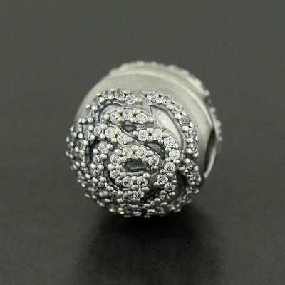NEW Authentic Pandora S925 Sterling Silver Shimmering Rose Clip 791529CZ