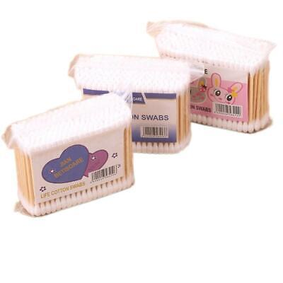 Double Head Wood Cotton Swab Buds Makeup Sticks Ears Cleaning Tool WST