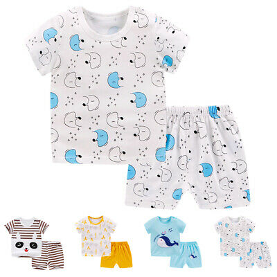 2pcs Toddler Infant Kids Baby Boy T-shirt Tops+Shorts Summer Outfits Clothes Set