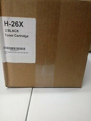 2 pack! H-26X Black Toner Cartridges  Compatible for Hp 26X
