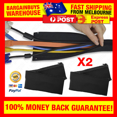 2pcs Neoprene Cable Management Wrap Wire Cord Hider Cover Cables Tidy Office