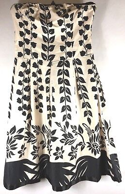 7e8b8418c05 Strapless Floral Dress Black Cream Off-White Women s Size Medium Fully Lined
