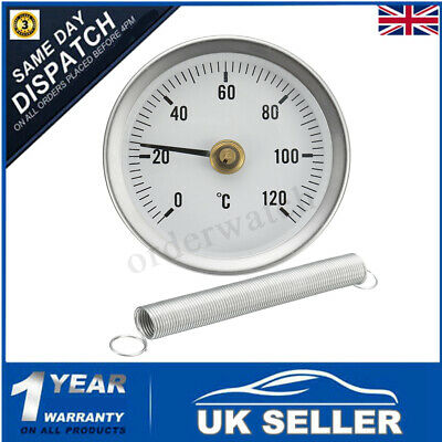 Hot Water Pipe Thermometer 0-120°C 63Mm Clip On Dial Temperature Gauge &