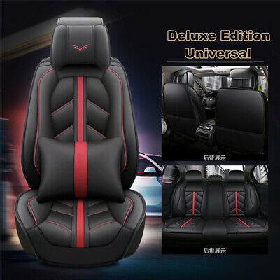 Deluxe Edition PU Leather 5-Seat Car Seat Cover Cushion Front+Rear Full Surround