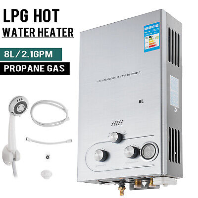 16KW 8L 2.1GPM Gas LPG Propane Tankless Instant Hot Water Heater Boiler Shower