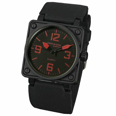 INFANTRY INFILTRATOR MENS Analog WRIST WATCH Stainless Steel BLACK RUBBER RED