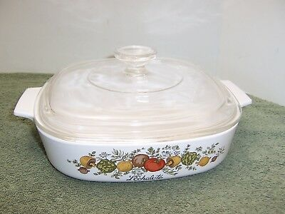 """CORNING WARE SPICE OF LIFE A-8-B 8x8x1 3/4"""" CASSEROLE DISH WITH LID"""