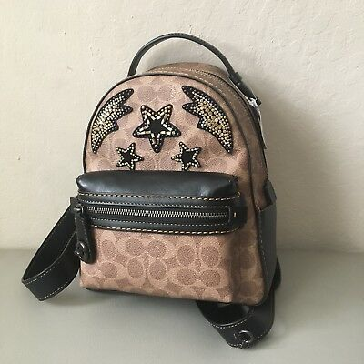 45d4ddf686d7a Nwt Coach 31632 Campus Backpack 23 In Signature Canvas With Rainbow Crystal  Embe