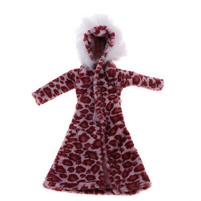 Doll Winter Clothes Fur Coat Fashion Clothing for 1:6 Scale Dolls-Purple Red