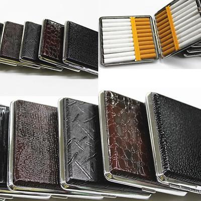 NEW Leather Pocket Cigarette Metal Cigarette Holder Tobacco Case Box 20pcs