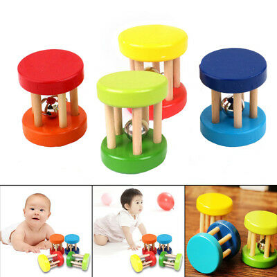 Funny Wooden Baby Rattle Toy Hand Shake Bell Educational Toy For Kid Gift