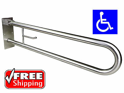 Fold Down Safety Rail Grab Bar Disabled Toilet Stainless Toilet Roll Holder