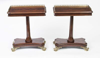 Pair Regency Style Mahogany Brass Gallery Occasional Side End Tables